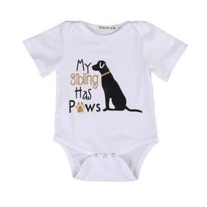 """Other - Boutique onesie """"My sibling has paws"""" 3, 9 mo."""
